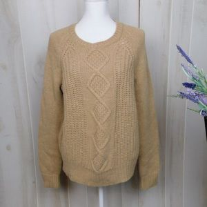 C Wonder Tan Cabled Wool Blend Sweater